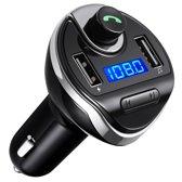 Bluetooth Carkit Auto FM Transmitter om Handsfree te Bellen en Draadloos Muziek te Streamen, Met Volumeknop en Oplaadfunctie Voor 2 Telefoons Tegelijkertijd | Display | Handsfree Bellen | USB Oplader | MP3 Speler Aux | TF-Kaart | Carkit T20