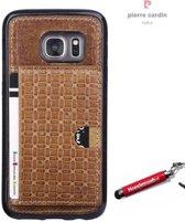 Bruin visitekaartjes/ pasjes hoesje Samsung Galaxy S6 Edge SM-G925 met originele hoesjesweb stylus