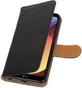LG Q6 Zwart   Echt lederen bookstyle / book case/ wallet case Hoes    WN™