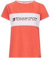 Tommy Hilfiger Sport dames t-shirt Blocked Logo print - koraal-L