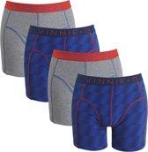 Vinnie-G boxershorts Flame Blue Print Grey 4-pack M