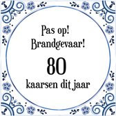 Verjaardag Tegeltje Met Spreuk 80 Jaar Pas Op Brandgevaar 80 Kaarsen Dit Jaar Cadeau Verpakking Plakhanger