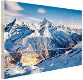 Zonsondergang alpen Hout 30x20 cm - Foto print op Hout (Wanddecoratie)