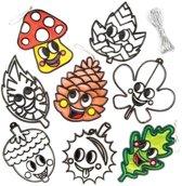 Zonnevanger decoraties 'herfstvriendjes' voor kinderen om zelf te ontwerpen, maken en versieren - Creatieve herfstknutselset voor kinderen (8 stuks per verpakking)