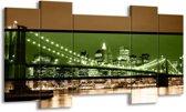 Canvas schilderij Brug | Groen, Bruin, Zwart | 120x65 5Luik