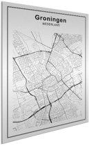 Stadskaart - Groningen Aluminium wit 60x80 cm - Plattegrond