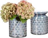 relaxdays 2 x glazen vaas met patroon - vloervaas - designvaas - decoratie – deco