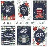 Kerstkaarten - kaartenset - ansichtkaarten - Kerst Traditioneel - 6 stuks - wenskaarten