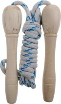 Jonotoys Springtouw Met Houten Handvat Wit/blauw 210 Cm