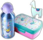 Alpaca broodtrommel + aluminium drinkfles Blauw   Lunchbox kinderen LS12