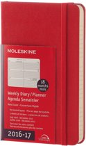 Moleskine Agenda 2016 2017 18 Months Planner Weekly Horizontal Pocket Scarlet Red Hard Cover