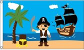 Jongens piratenschat vlag - 150 x 90 cm - piratenvlag