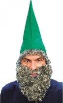 Kabouter muts met baard groen