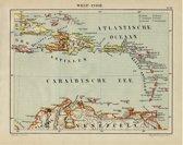 Historische kaart van West Indië (de kleine en grote antillen, dus de Nederlandse Antillen) uit 1882 door Jacob Kuyper