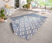 Binnen & buiten vloerkleed ruiten Rio - blauw/crème 80x150 cm