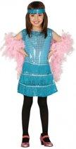 Showgirl jurkje blauw voor meisjes 128-134 (7-9 jaar)