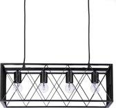 relaxdays hanglamp zwarte rechthoekige metalen kooi - 4 lichts - plafondlamp - industrieel