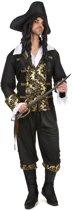 Zwart-goudkleurig piraat kostuum voor mannen  - Verkleedkleding - M/L