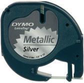 Dymo Lettertape Metallic - Zwart/Zilver - 12 mm x 4m - Tape