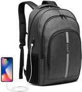 Kono Rugzak - Laptoptas inclusief USB Oplaadstation - 25 L Rugtas voor Mannen/Vrouwen - Tas Met Reflecterende Strip - Waterdichte Backpack - Tas voor School/Werk/Reizen - Grijs (E1972)