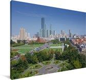 Stadsgezicht van de Chinese stad Dalian Canvas 90x60 cm - Foto print op Canvas schilderij (Wanddecoratie woonkamer / slaapkamer) / Aziatische steden Canvas Schilderijen