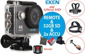 EKEN Action Camera H9R 4K + Afstandsbediening + Wifi + 23 access & 12MP foto met OmniVision Chipsensor 4689 + Sandisk 32GB SD + Extra Accu + Borstband + Hoofdband + Selfie Stick + Dual accu lader