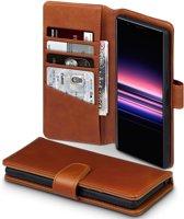 Sony Xperia 5 Bookcase hoesje - CaseBoutique - Effen Cognac - Leer