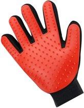 Vacht verzorgingsborstel voor huisdieren - Rood - LimitedDeals - Voor Honden Katten Konijnen Paarden - Tevens massage handschoen voor dieren! - Goed voor de verzorging van de vacht