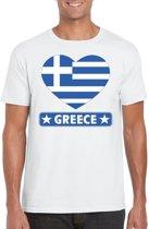 Griekenland t-shirt met Griekse vlag in hart wit heren 2XL
