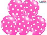Ballonnen Fuchsia dots wit 50 stuks