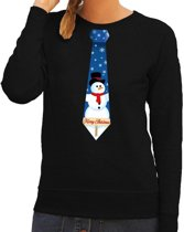 Foute kersttrui / sweater stropdas met sneeuwpop print zwart voor dames S (36)