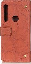 Mobigear Copper Buckle Retro Wallet Hoesje Bruin Motorola One Macro