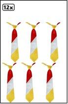 12x Stropdas rood-wit-geel