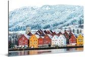 Bryggen op een koude winterdag Aluminium 30x20 cm - klein - Foto print op Aluminium (metaal wanddecoratie)