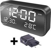 Digitale Wekker met GRATIS adapter - LED Verlichting - Zwart - Moderne Alarm - Multifunctioneel - Luxe Alarmklok - Instelbare Snooze Timer - Nachtmodus - 25 Klassieke Muziek Alarm - Temperatuur
