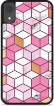 iPhone Xr Hardcase hoesje Pink-gold-white Marble