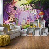 Fotobehang Unicorns And Fairies In The Forest | VEXL - 208cm x 146cm | 130gr/m2 Vlies