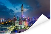 Schitterende kleurrijke lucht boven Shenzhen Poster 90x60 cm - Foto print op Poster (wanddecoratie woonkamer / slaapkamer) / Aziatische steden Poster