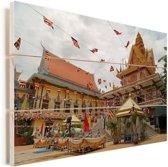 Het koninklijk paleis van Phnom Penh in Cambodja Vurenhout met planken 120x80 cm - Foto print op Hout (Wanddecoratie)