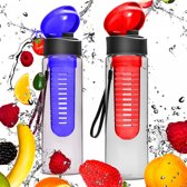#DoYourFitness - 2x Fruitwater fles - »FruitExplosion« - Fruit infuser voor fruitpunches / groente spritzers - 700ml - rood/blauw