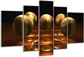 Glasschilderij Ball | Geel, Bruin, Zwart | 170x100cm 5Luik | Foto print op Glas |  F004092