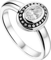 The Jewelry Collection Ring Oxi Zirkonia - Zilver Geoxideerd