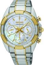 Seiko SRW808P1 horloge dames - zilver en goud - edelstaal