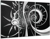 Schilderij | Canvas Schilderij Abstract | Zwart, Wit, Grijs | 120x80cm 3Luik | Foto print op Canvas