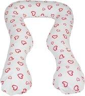 Zwangerschapskussen - Voedingskussen - 100% katoen - 300 cm - wit met rode hartjespatroon