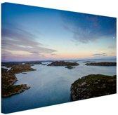 Noordzee zonsondergang Canvas 80x60 cm - Foto print op Canvas schilderij (Wanddecoratie)