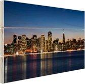 De skyline van San Fransisco bij nacht Hout 160x120 cm - Foto print op Hout (Wanddecoratie) XXL / Groot formaat!