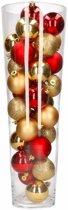 Kerst woondecoratie vaas met goud/rode kerstballen