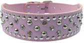 Honden halsband roze met luxe strass stenen en studs 56 cm