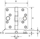 Dulimex Kogellagerscharnier H367-76762025 RVS ronde hoeken 76 x 76 x 2.4mm 6732.133.7676